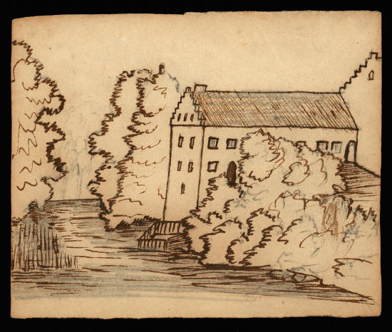 H. C. Andersen tegning af en dansk herregård. Kilde Odense Bys Museer