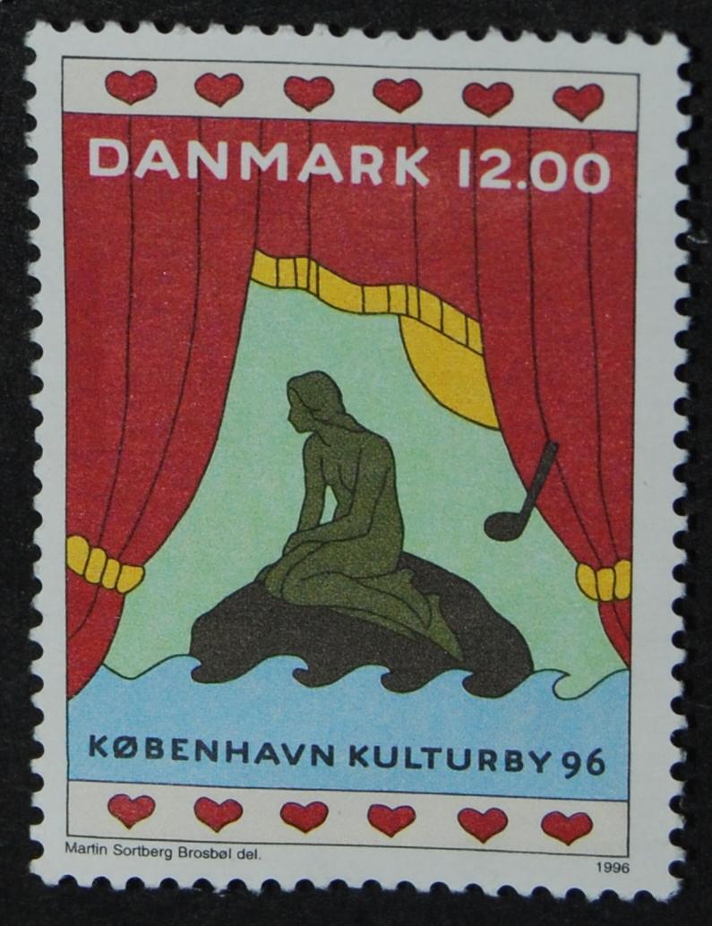 Frimærke: Københavns Kulturby 96 Danmark 12. oo kr. Martin Sortberg Brosbøl del. 1996 Den lille Havfrue
