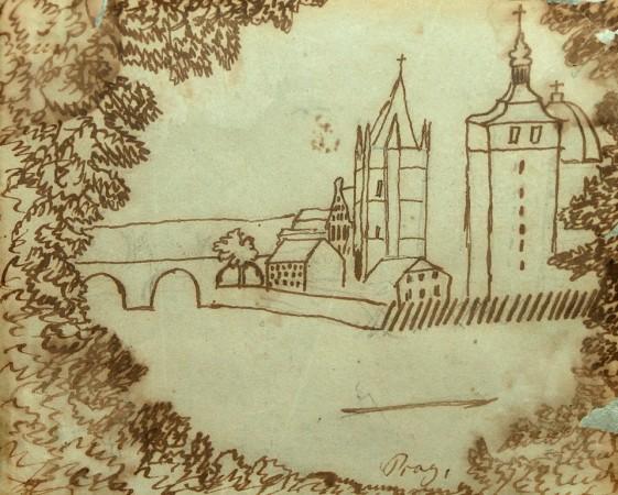 H.C. Andersen tegning fra Prag. Foto: Lars Bjørnsten Odense