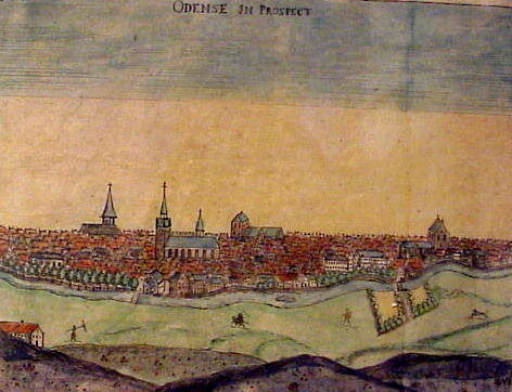 "Kobberstik og gravering af Erico Pontoppidano, senere farvelagt ""Odense in Prospect"" . Theatrum Daniae veteris et moderne 1730"