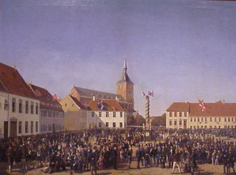 August Frederik Behrends 81821-1904) De svenske Troppers Modtagelse paa Albani Torv i Odense, 1848, 1853