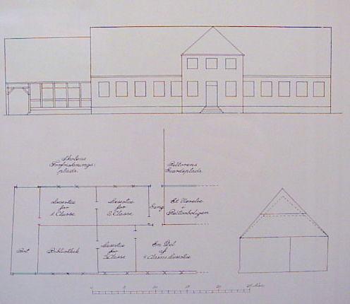 Slagelse Latinskole. Opstalt og grundplan af skolebygningen 1826.