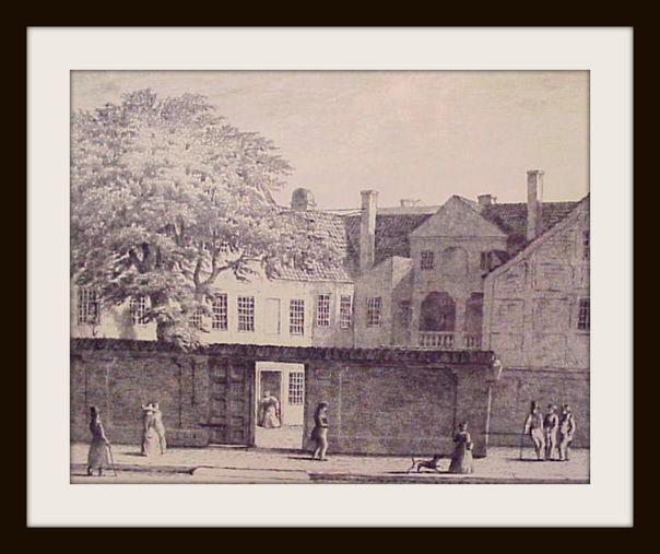 Den collinske gård i Bredgade. Radering 1853 efter tegning af Heinrich Hansen. Foto Lars Bjørnsten 2002