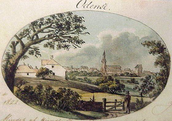 Odense. Gouache af J.H.T. Hanck 1822. Foto Lars Bjørnsten 2002.