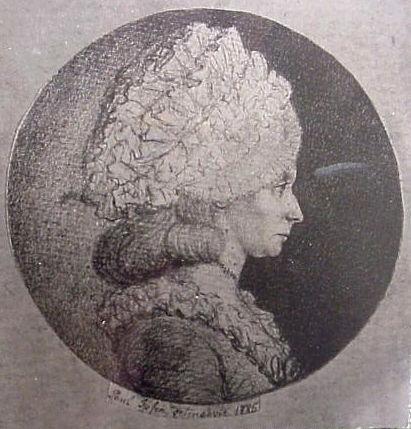 Etatsrådinde Johanne Marie Lindegaard (1763-1838), H.C. Andersens værtinde på Lykkesholm. Foto efter tegning 1785 (P.Ipsen). Set i H.C. Andersens Hus 2002.