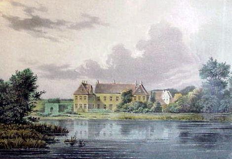 Herregården Lykkesholm. Litografi 1850*erne. Set i H.C. Andersens Hus 2002. Foto: Lars Bjørnsten