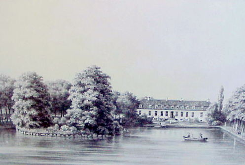 Herregården Glorup. Fotografi efter litografi 1850'erne