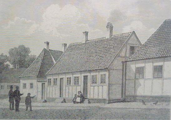 """H.C. Andersens Barndomshjem i Munkemøllestræde i Odense. Træsnit i """"Søndags-Posten 4. april 1875."""