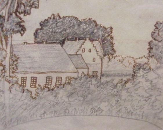 Tegning af H.C. Andersen fra en rejse i Danmark