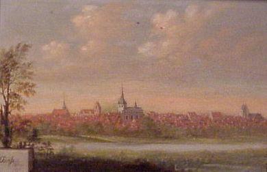 Usigneret. Odense fra syd ca. 1747