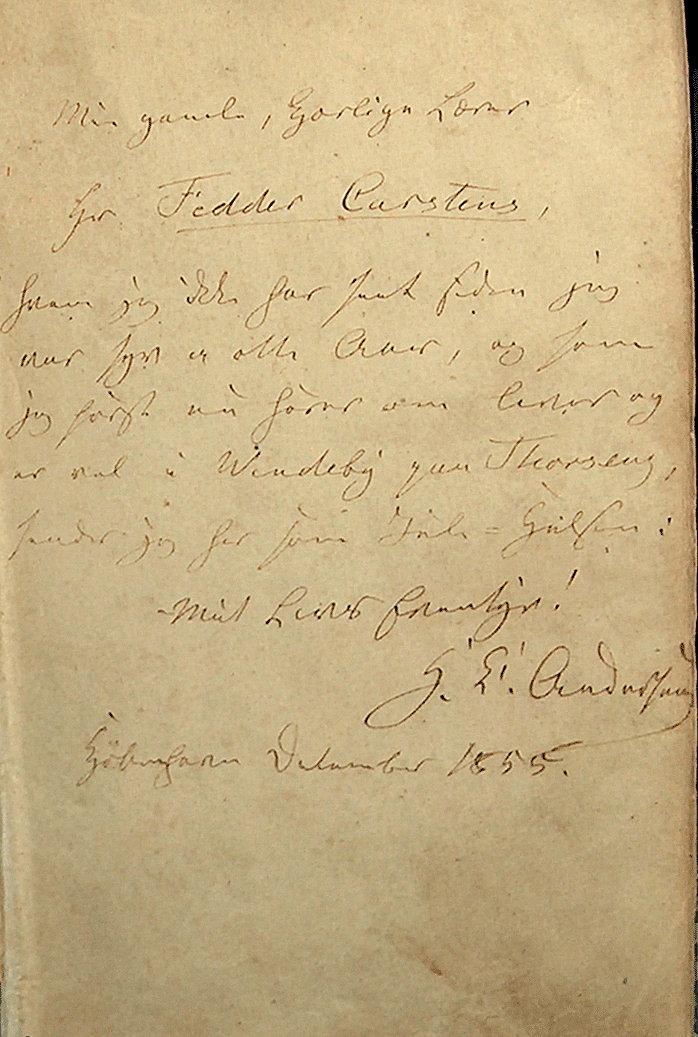 H.C.Andersens julehilsen til Fedder Carstens 1855