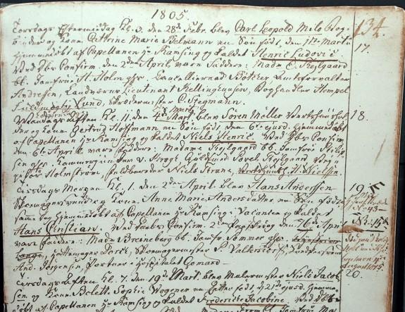 Sct. Hans kirkebog med H.C. Andersens fødsels og dåbregistrering. hvor H.C. Andersens hjemmedåb blev konfirmeret.