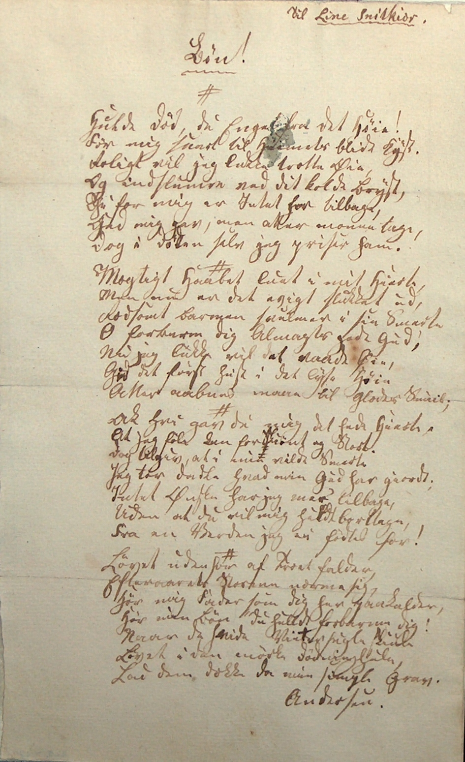 Digt fra H.C. Andersens skoletid i Slagelse 1824 stillet til Jomfru Line Snitkiær.