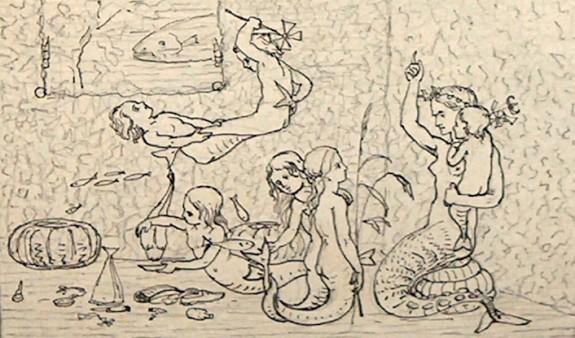 """Tegning af """"Den lille Havfrue"""" Lorenz Froelich 1837."""