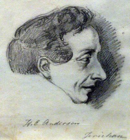 H.C. Andersen. Tegning af J.A. Jerichau. Tegningen er muligvis et forarbejde til en buste af Andersen, som Jerichau udstillede i Kunstforeningen i 1838