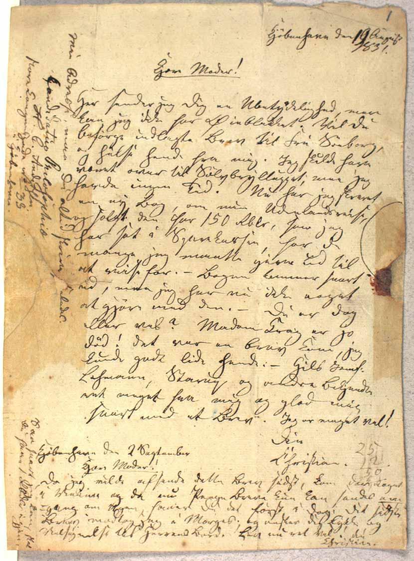 Brev fra H.C. Andersen til sin moder dateret 19 august 1831 og 2. september 1831