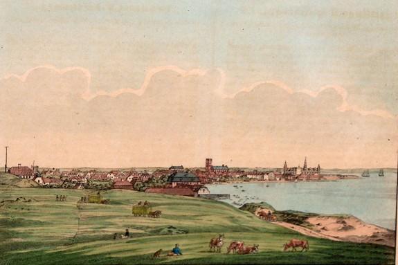 Helsingør. Farvelagt kobberstik af H.G. Holm, 1830'erne. Foto Lars Bjørnsten Odense
