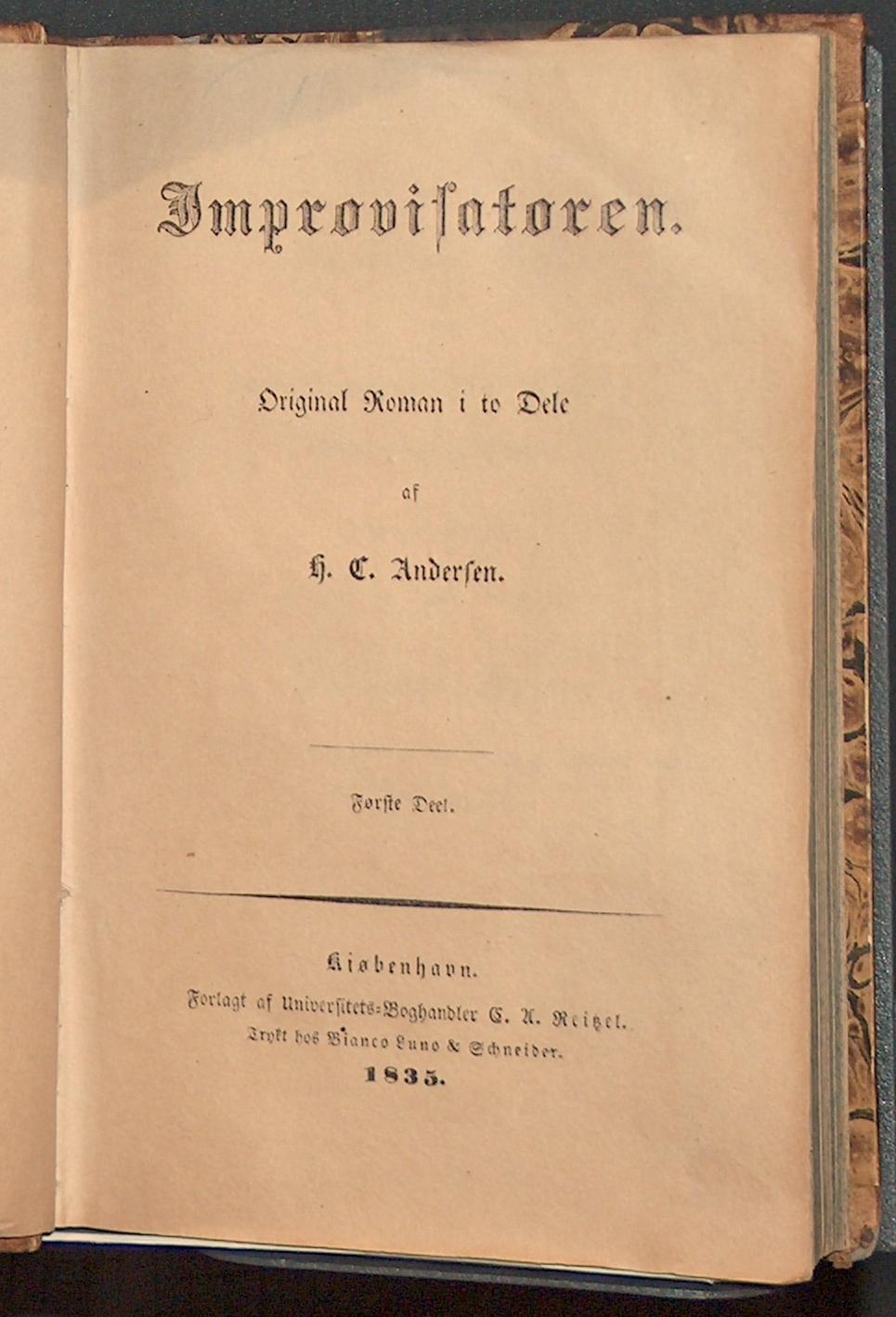 """Den her viste roman er H.C. Andersens første roman """"Improvisatoren"""" og er blevet til efter rejsen til Italien i 1833-1834."""