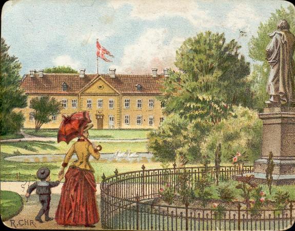 Trykt tegning fra 1890, farvelagt. Kongens Have med Odense Slot og søen i baggrunden.     I forgrunden en kvinde med en lille dreng i matrostøj, stående ved H.C. Andersen statuen  Kilde: Odense Bys Museer