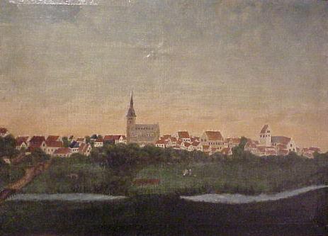 Usigneret. Odense fra syd ca. 1750