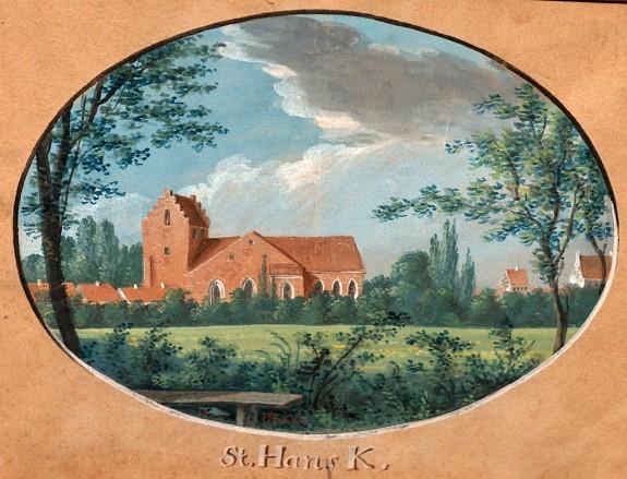 Sanct Hans kirke i Odense er den kirke, hvor H.C. Andersen hjemmedåb blev konfirmeret den 16. april 1805. Gouache af J.H.T. Hanch 1805.