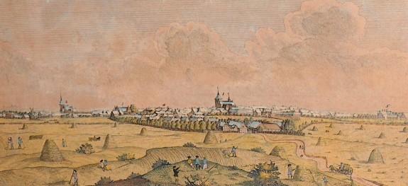 Kjøbstaden Slagelse set fra syd. Johan Jacob Bruun ca. 1800