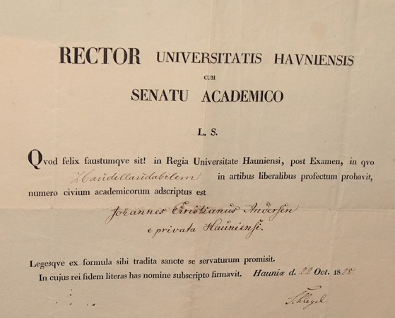 H.C. Andersens akademiske borgerbrev 1828