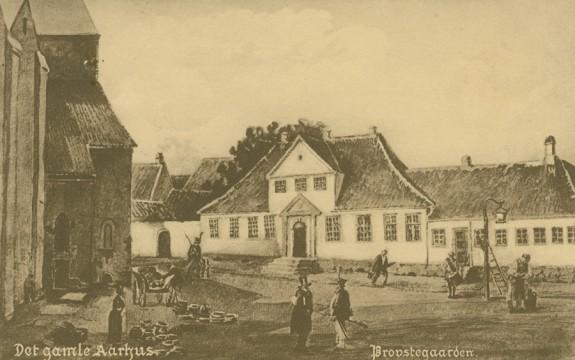 Domkirkepladsen med den gamle Provstegaard i Aarhus. Kilde Bymuseet i Aarhus