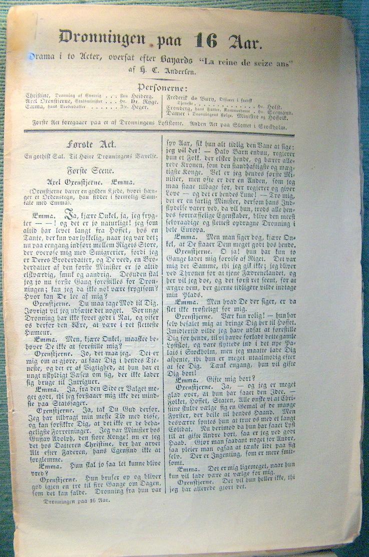 """Dronningen paa 16 Aar i to Acter oversat efter Bayard """"La reine de seizean"""" af H.C. Andersen."""