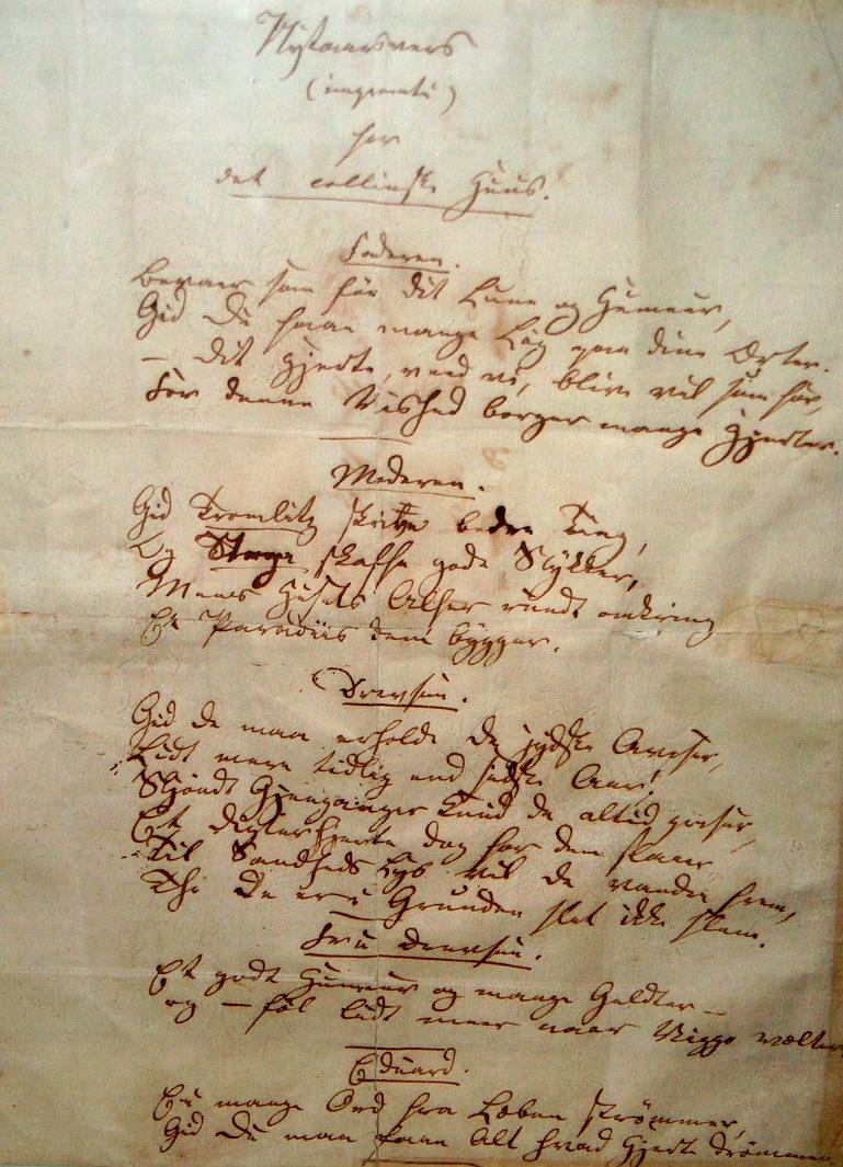 Nytårsvers for det collinske hus, skrevet af H.C. Andersen.
