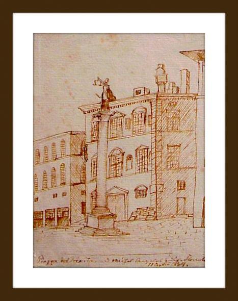Piazza del Trinita med Michel Angelos Hus, Florents. 11. april 1834. Tegning af H.C. Andersen. Foto: Lars Bjørnsten Odense 2002