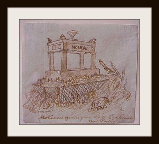 """""""Molierers Grav på Pere Lachaise ved Paris"""". Tegning af H.C. Andersen.  Foto Lars Bjørnsten Odense 2002"""