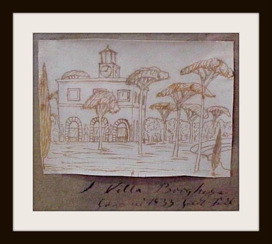 Villa Borghese: Tegning af H.C. Andersen fra Rom i Italien
