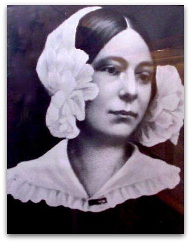 Riborg Voigt (1806-1882) gift i 1836 med skovrider P. Bøving. Fotografi retoucheret efter daguerreotypi, 1840'erne. Foto Lars Bjørnsten Odense 200
