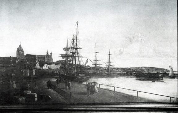 Udsigt til ydre havn i Aarhus 1860. Kilde Bymuseet Aarhus.