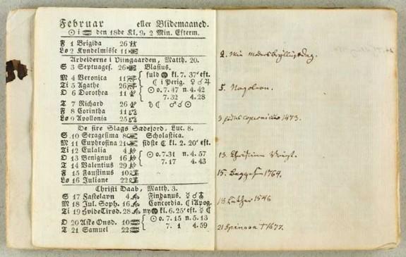 H.C. Andersens almanak for februar 1833. Kilde: www.kb.dk 051207