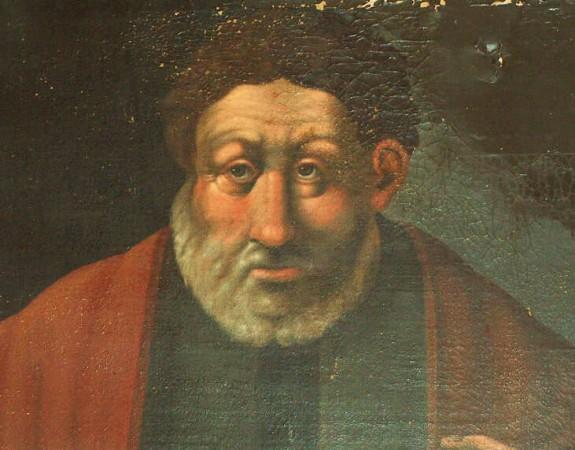 Portræt af den gamle som H.C. Andersens kalder Bugge (død 1325) Portrættet hænger i Riddersalen på Nørre Wosborg. Foto Lars Bjørnsten Odense 2003