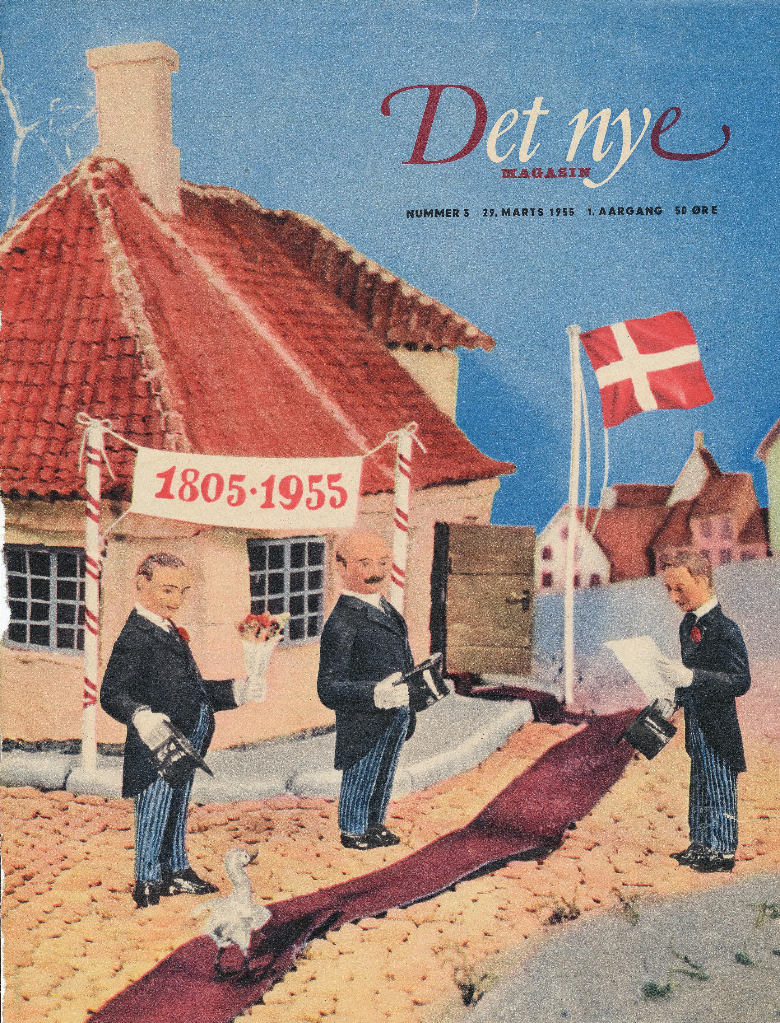 """I anledning af 150 års dagen for H.C. Andersens fødsel er den røde løber lagt ud foran indgang til H.C. Andersens hus i Odense. Forsiden af """"Det nye Magasin"""" Nummer 3. 29. marts 1. Aargang 50 øre 1955.  Foto Lars Bjørnsten"""