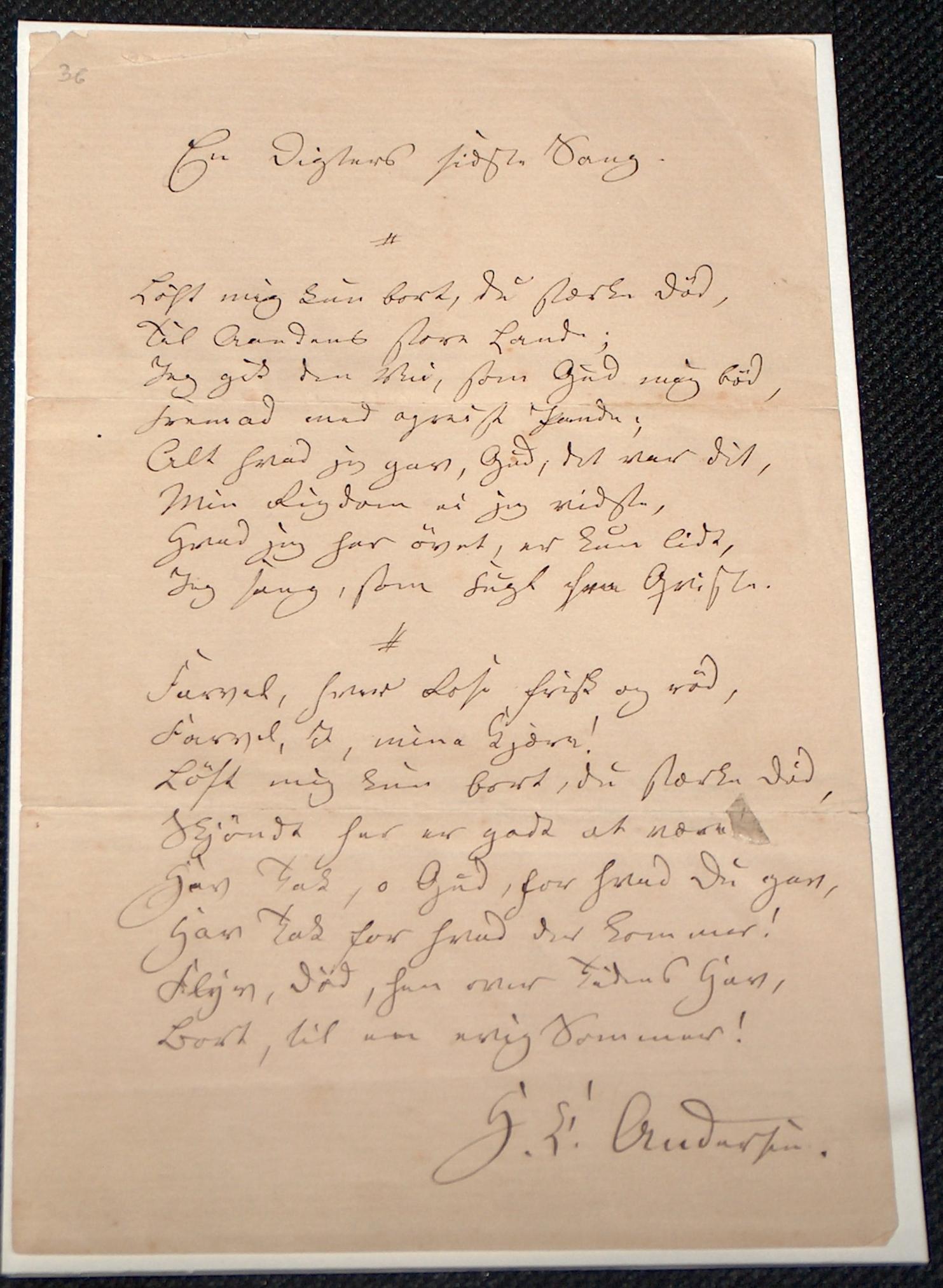 En digters sidste sang 1844. Foto: Lars Bjørnsten Odense