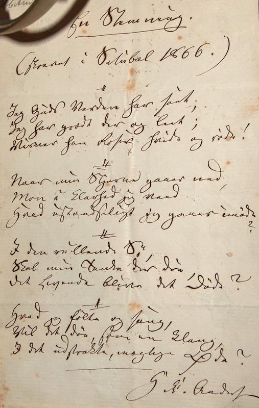 """H.C. Andersen digt: """"En Stemning"""" 1866. Foto Lars Bjørnsten Odense"""