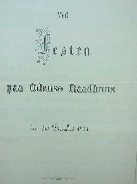 Program For æresborgerfesten 6 december1867 i Odense. Foto Lars Bjørnsten Odense