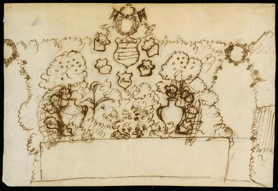 Tegning af H.C. Andersen. Skitse af udsmykning til festen på Glorup den 7. juli 1851. Kilde Odense Bys Museer