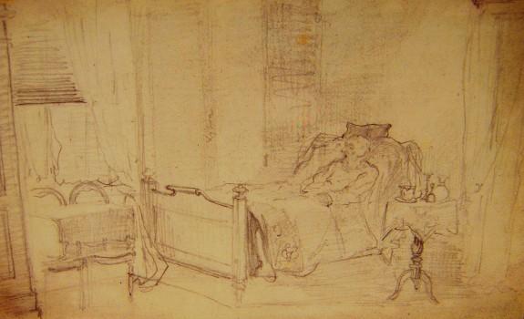 Øjeblikstegning af reportagetegner Knud Gamborg (1828-1900) august 1875