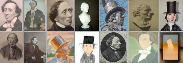 Diverse portrætter af H.C. Andersen. Fotocollage Lars Bjoernsten Odense