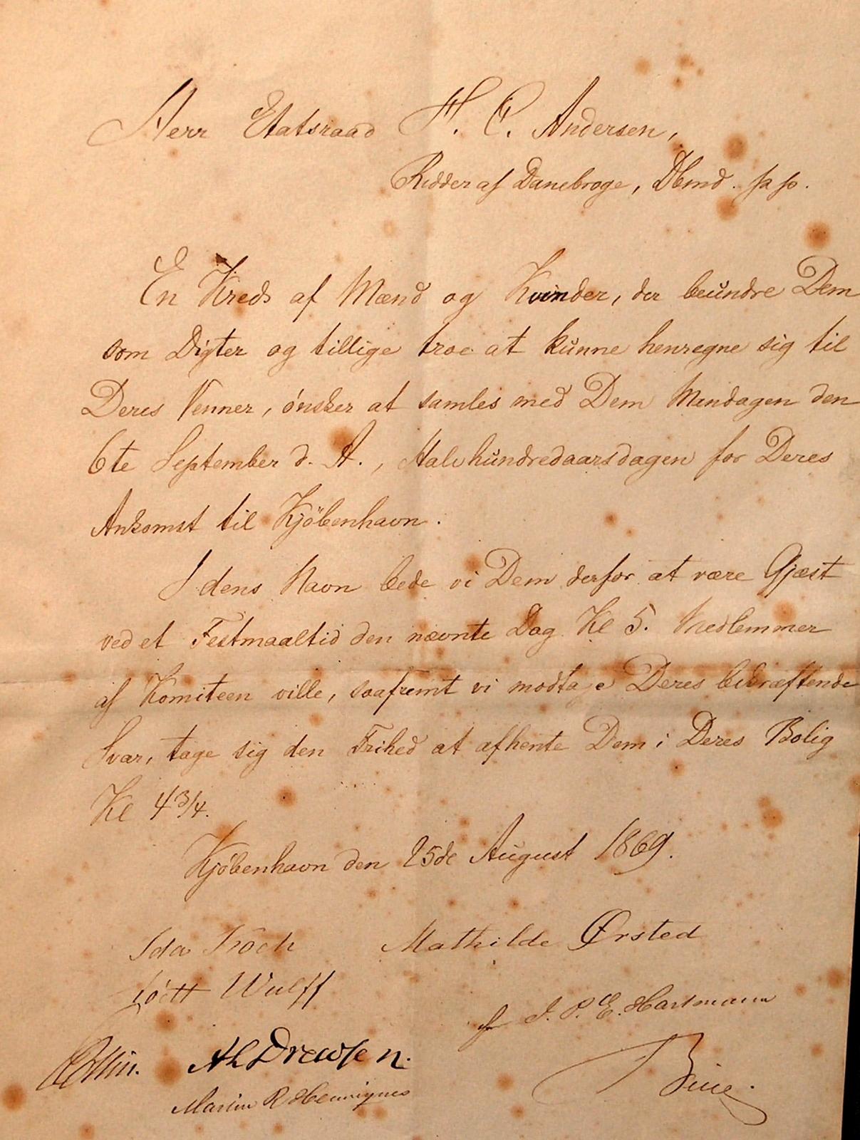 ndbydelse til H.C. Andersen fra festkomiteen 25. august 1869. Foto Lars Bjørnsten Odense