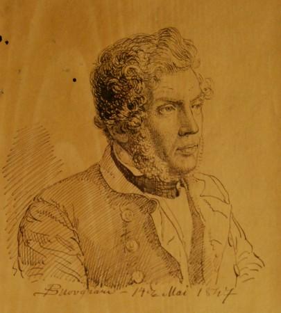 Louis Edzard Mourier(1805-1877) borgmester i Odense 1861 - 1877. Tegnet to uger før sit bryllup af P.C. Skovgaard den 14. maj 1847.