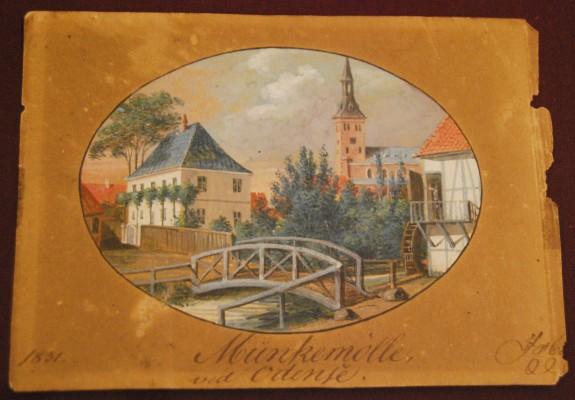 Munke Mølle i Odense for enden af barndommens gade Munkemøllestræde. Akvaral af J.H.T. Hanck 1831.