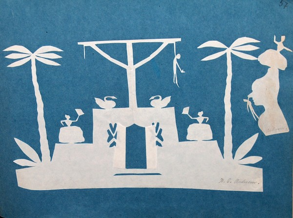 """H.C. Andersens smukke papirklip i hvidt papir med blå baggrund er med til at illustrere nedenstående uddrag fra eventyret """"Den lille Idas Blomster"""""""