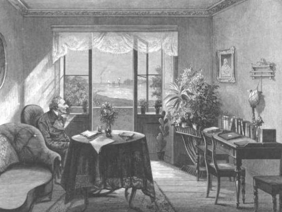 H.C. Andersen i sin dagligstue på 1. sal på Rolighed , hvor han ser ud over Svanemøllebugten. Foto Lars Bjørnsten