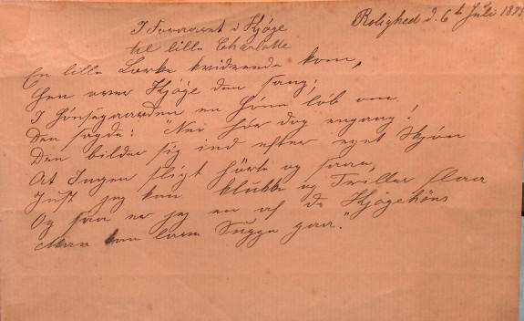 H.C. Andersens sidste digt. 6. juli 1875. Foto Lars Bjørnsten Odense